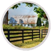 Old Barn Round Beach Towel by Ronda Ryan