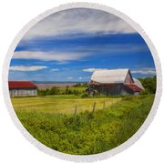 Old Barns At Burntcoat Head Round Beach Towel by Ken Morris