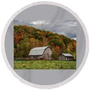 Old Barns Of Beauty In Ohio  Round Beach Towel