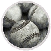 Old Baseballs Pencil Round Beach Towel by Edward Fielding