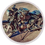 Old Beamer Motorcycle Round Beach Towel