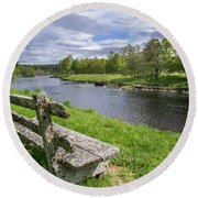 Old Bench Along Spey River, Scotland Round Beach Towel