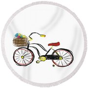 Old Bicycle Round Beach Towel
