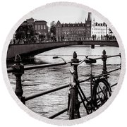Old Bicycle In Central Stockholm Round Beach Towel