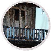 Old Blue Balcony Round Beach Towel