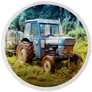 Old Blue Ford Tractor Round Beach Towel