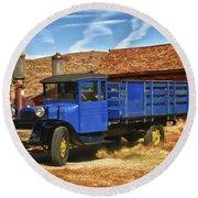 Old Blue 1927 Dodge Truck Bodie State Park Round Beach Towel by James Hammond