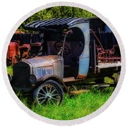 Old Blue Ford Truck Round Beach Towel by Garry Gay