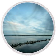 Old Blue Morning Round Beach Towel