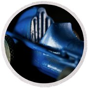 Old Blue Toy Race Car Round Beach Towel by Wilma Birdwell