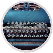 Round Beach Towel featuring the photograph Old Blue Typewriter by Edward Fielding