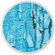 Old Blue Wood Round Beach Towel by John Williams