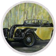 Old Bmw Yellow Car Painted On Leather, Vintage 1938 Round Beach Towel