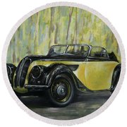 Old Bmw Yellow Car Painted On Leatheder, Vintage 1938 Round Beach Towel by Vali Irina Ciobanu