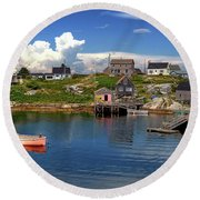 Round Beach Towel featuring the photograph Old Boat At Peggy's Cove by Rodney Campbell