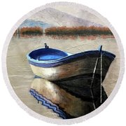 Old Boat Round Beach Towel by Janet King