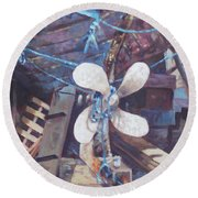 Old Boat Propeller Round Beach Towel