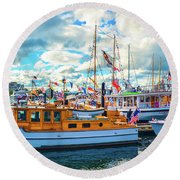 Old Boats Round Beach Towel