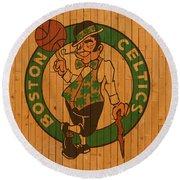 Old Boston Celtics Basketball Gym Floor Round Beach Towel