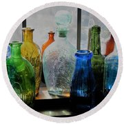 Round Beach Towel featuring the photograph Old Bottles by John Scates