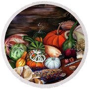 Old Bowl Cornucopia Round Beach Towel