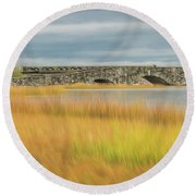 Old Bridge In Autumn Round Beach Towel
