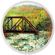 Old Bridge - New Hampshire Fall Foliage Round Beach Towel