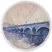 Round Beach Towel featuring the painting Old Bridge Of Maastricht In Warm Diffuse Autumn Light by Nop Briex