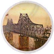 Old Bridge Of Vicksberg, Ms Round Beach Towel by Bonnie Willis