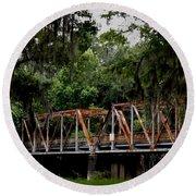 Old Bridge To Town Round Beach Towel