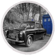 Old British Police Car And Tardis Round Beach Towel by Yhun Suarez