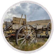 Old Buckboard Wagon Round Beach Towel