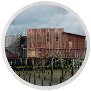 Old Building Astoria Oregon Round Beach Towel
