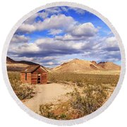 Round Beach Towel featuring the photograph Old Cabin At Rhyolite by James Eddy