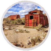 Round Beach Towel featuring the photograph Old Caboose At Rhyolite by James Eddy