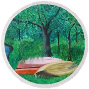 Old Canoes Round Beach Towel