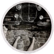 Round Beach Towel featuring the photograph Old Car And The Girl. by Andrey  Godyaykin