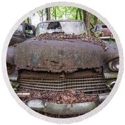 Old Car City In Color Round Beach Towel