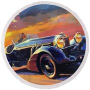 Old Car Racing Round Beach Towel