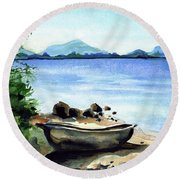 Round Beach Towel featuring the painting Old Carved Boat At Lake Malawi by Dora Hathazi Mendes
