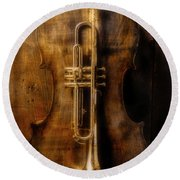 Old Cello And Trumpet Round Beach Towel