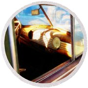 Round Beach Towel featuring the photograph Old Chevrolet Dashboard by Glenn McCarthy Art and Photography