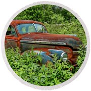 Old Chevrolet Suicide Doors Round Beach Towel