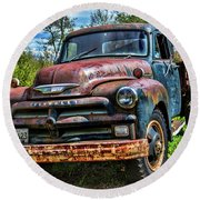 Old Chevrolet Truck Round Beach Towel by Alana Ranney