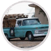 Round Beach Towel featuring the photograph Old Chevy by Rob Hans