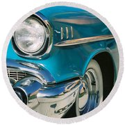 Round Beach Towel featuring the photograph Old Chevy by Steve Karol