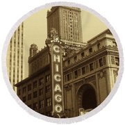 Old Chicago Theater - Vintage Photo Art Print Round Beach Towel by Art America Gallery Peter Potter