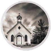 Old Church Round Beach Towel