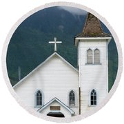 Round Beach Towel featuring the photograph Old Church by Rod Wiens