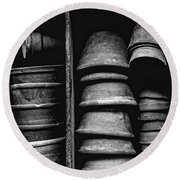 Round Beach Towel featuring the photograph Old Clay Pots by Edward Fielding